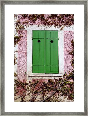 Framed Print featuring the photograph Pink Building With Green Shutters by Mary Bedy