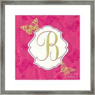 Pink Butterfly Monogram Framed Print by Debbie DeWitt