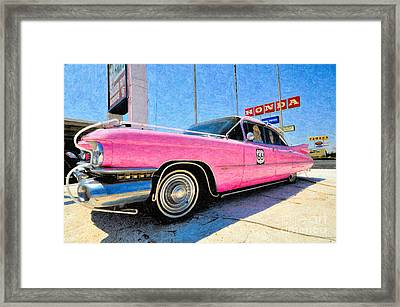 Pink Cadillac Framed Print by Liane Wright