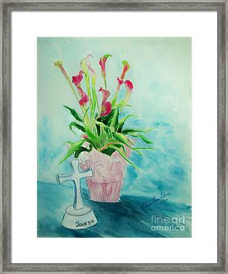 Pink Callas With White Cross Framed Print by Melanie Palmer