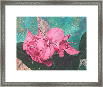 Framed Print featuring the painting Pink Canna by Hilda and Jose Garrancho