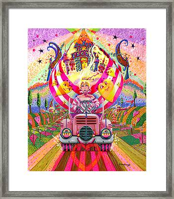 Pink Car Angel Framed Print by Jacquelin Vanderwood