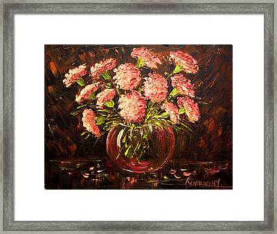 Pink Carnations Paint Along With Nancy Pbs Framed Print by    Michaelalonzo   Kominsky
