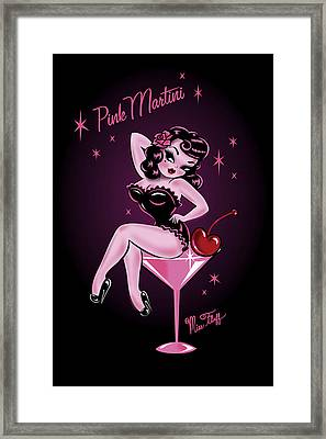 Pink Cherry Martini Girl Framed Print by Miss Fluff Claudette Barjoud
