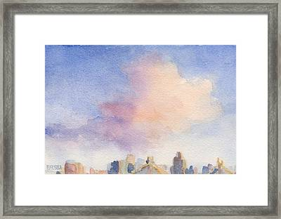 Pink Cloud And 59th St Bridge Watercolor Painting Of Nyc Framed Print