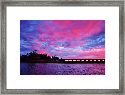 Pink Cloud Invasion Sunset Framed Print