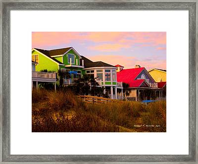 Pink Clouds At Isle Of Palms Framed Print by Kendall Kessler