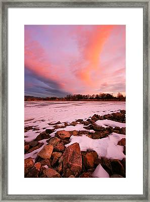 Pink Clouds Over Memorial Park Framed Print