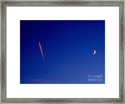 Pink Con Trail And Moon Framed Print