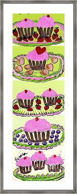 Framed Print featuring the painting Pink Cupcake Delights by Ecinja Art Works