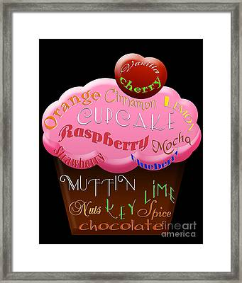 Pink Cupcake Typography Framed Print by Andee Design