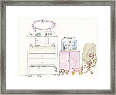 Framed Print featuring the painting Pink Dolly Bedroom by Helen Holden-Gladsky