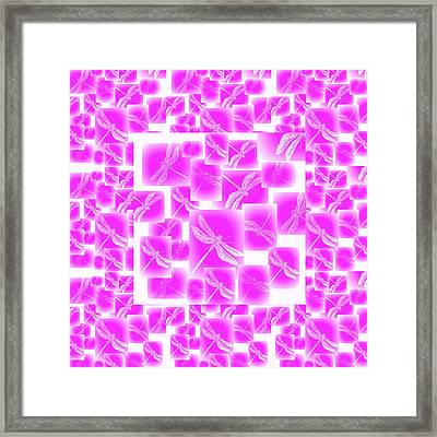 Pink Dragonflies Framed Print by Cathy Jacobs