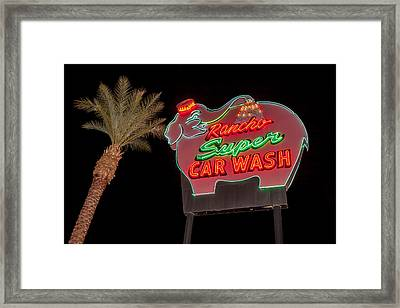 Pink Elephant Car Wash 36 X 24 Framed Print
