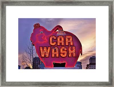Pink Elephant Car Wash Framed Print