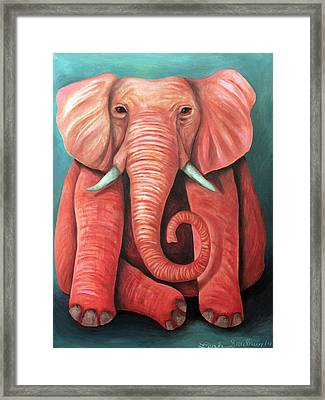 Pink Elephant Edit 2 Framed Print by Leah Saulnier The Painting Maniac