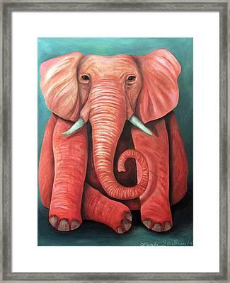 Pink Elephant Edit 2 Framed Print