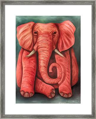 Pink Elephant Edit 3 Framed Print