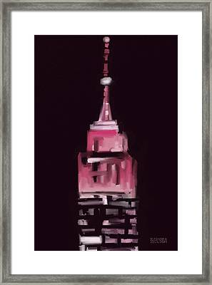 Pink Empire State Building New York At Night Framed Print