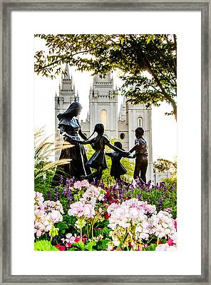 Pink Family Slc Temple Framed Print by La Rae  Roberts