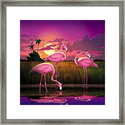 Pink Flamingos At Sunset Tropical Landscape - Square Format Framed Print