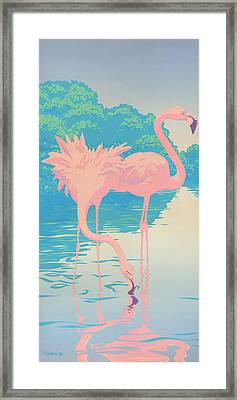 abstract Pink Flamingos retro pop art nouveau tropical bird 80s 1980s florida painting print Framed Print by Walt Curlee