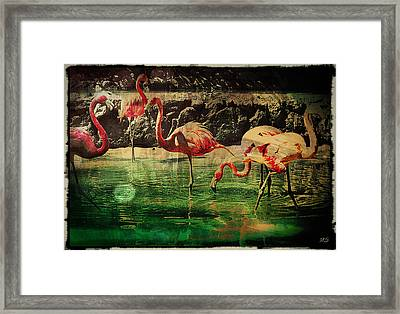 Pink Flamingos - Shangri-la Framed Print by Absinthe Art By Michelle LeAnn Scott