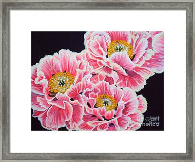 Peony Painting Oil On Canvas No.2 Framed Print by Drinka Mercep