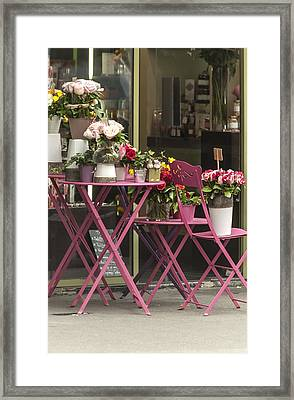 Pink Flower Table Paris Framed Print