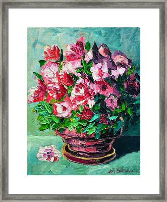 Framed Print featuring the painting Pink Flowers by Ana Maria Edulescu