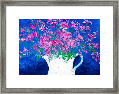 Pink Flowers In A Jug Framed Print