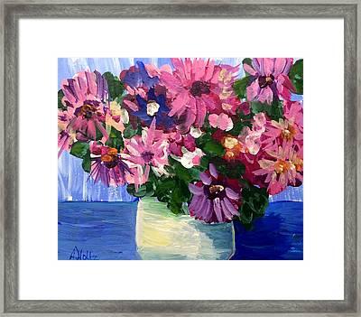 Pink Flowers In Pot Framed Print
