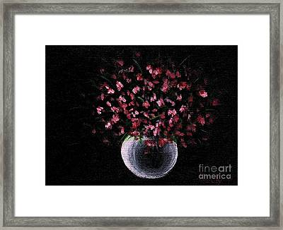 Framed Print featuring the painting Pink Flowers In Vase  by Becky Lupe