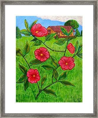 Pink Flowers Framed Print by Sheri Keith