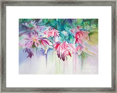 Pink Flowers Watercolor Framed Print by Michelle Wiarda