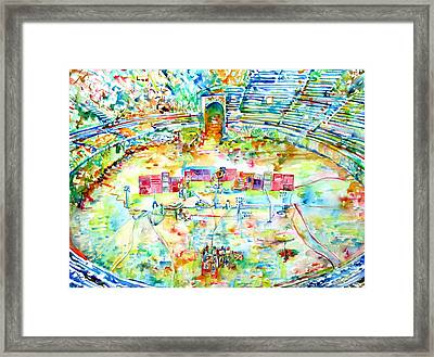 Pink Floyd Live At Pompeii Watercolor Painting Framed Print by Fabrizio Cassetta