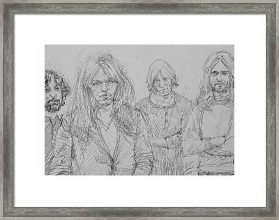 Pink Floyd Pen Portrait Framed Print by Fabrizio Cassetta