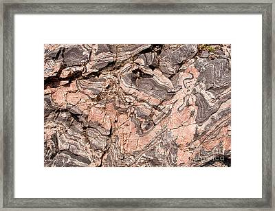 Framed Print featuring the photograph Pink Gneiss Rock by Les Palenik