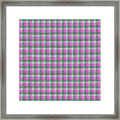 Pink Green And White Plaid Pattern Cloth Background Framed Print by Keith Webber Jr