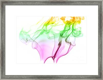 Pink Green And Yellow Smoke Abstract Framed Print
