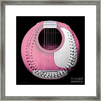 Pink Guitar Baseball White Laces Square Framed Print by Andee Design