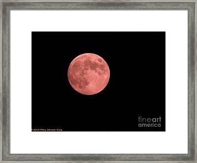 Pink Harvest Moon Framed Print by Mary  King