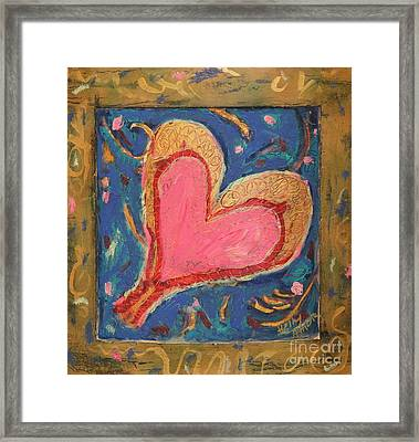 Pink Heart On Beveled Wood Framed Print by Kelly Athena