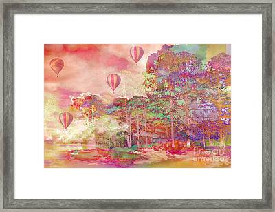 Pink Hot Air Balloons Abstract Nature Pastels - Dreamy Pastel Balloons Framed Print by Kathy Fornal
