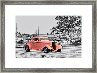 Pink Hot Rod Cruising Woodward Avenue Dream Cruise Selective Coloring Black And White Framed Print by Thomas Woolworth