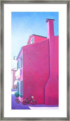 Pink House In Burano Italy Framed Print by Jan Matson
