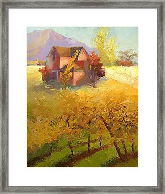 Pink House Yellow Field Framed Print