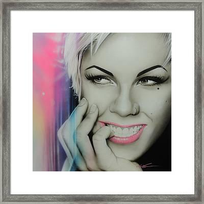 Alecia Moore - ' Pink I I ' Framed Print by Christian Chapman Art
