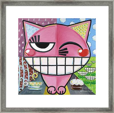 Pink Kitten Crossing The Street Framed Print by Hektor Thillet