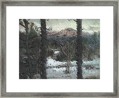 Framed Print featuring the painting Snow - Pink Mountain - Blueridge Mountains by Jan Dappen